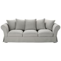 4/5 seater cotton sofa in light grey Roma