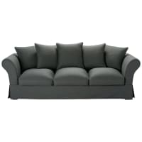 4/5 seater cotton sofa in slate grey Roma
