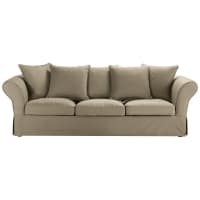 4/5 seater cotton sofa in taupe Roma