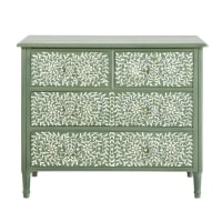 4-Drawer Chest of Drawers in Khaki with Floral Print Anoushka
