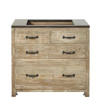 4-Drawer Pan Storage Unit in Recycled Pine and Stone Copenhague kitchen