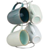 4 mug in maiolica blu con supporto Pornic