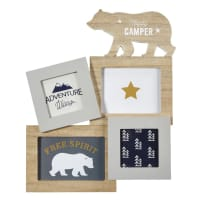 4 Multi-Aperture Bear Photo Montage Frame 31 x 38 Happy Camper
