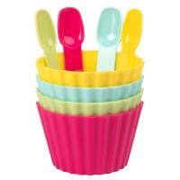 4 pots à glace avec petites cuillères multicolores Arc-En-Ciel
