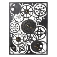 4 Wanduhren mit Zahnrädern aus Metall, schwarz 90x65 Denison