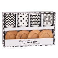 4er-Set Tassen mit Untertassen aus Porzellan Black & White