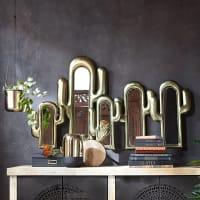 5 miroirs cactus en métal doré 126x75 Pan Americana