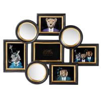 EDWARD - 5-photo multi-frame in mirror and black and gold resin 54x41cm
