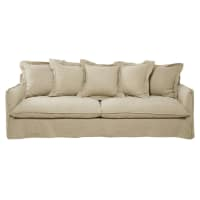 5 Seater Washed Linen Sofa in Ecru Barcelone