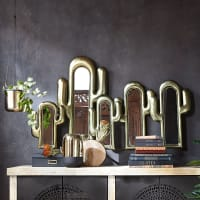 5 specchi cactus in metallo dorato, 126x75 cm Pan Americana