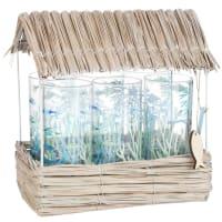 6 jarras de cristal con pajita de fibra vegetal