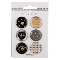 6 magnets à motifs B&W