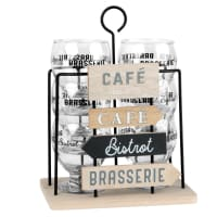 PANCARTES - 6 Printed Glasses with Metal Signs Holder