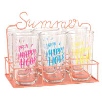 6 Printed Glasses with Pink Metal Holder Happy Hour