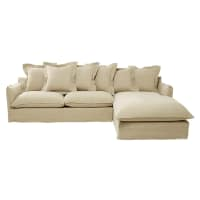 6 Seater Washed Linen Right Hand Corner Sofa in Ecru Barcelone