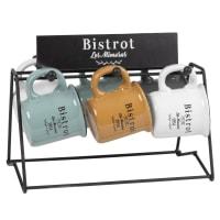 6 tasses en faïence multicolore imprimé et support en métal noir Leontine & Remy