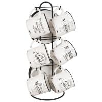 6 tasses et soucoupes en porcelaine avec support Parker