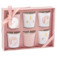 6 velas y portavelas de cristal rosa y blanco con estampado Unicorn