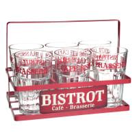 6 verres + support en métal rouge Brocante