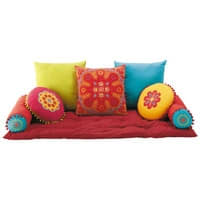 7 Kissen + Auflage aus Baumwolle, bunt Roulotte