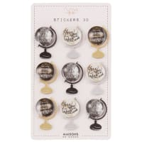 9 stickers 3D globes
