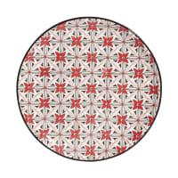Aardewerken dessertbord met rode bloemen Seville