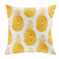 White Fabric Outdoor Cushion with Pineapple Print 45x45 Abaca