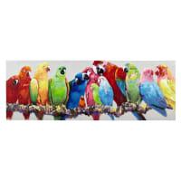 Afbeelding op canvas bontgekleurde papegaaien 70x200 Luciana