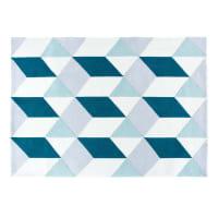 Alfombra afelpada tufting con motivos gráficos azules 160x230