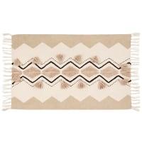 ENIOLA - Alfombra de algodón color crudo y beige con estampados 60 x 90 cm