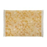 FLEURELLE - Alfombra de algodón crudo y amarillo mostaza con pompones 140x200