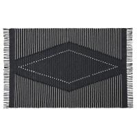 DELMAS - Alfombra de algodón reciclado gris antracita negra y blanca 140x200