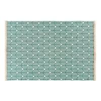 Alfombra de algodón verde con motivos gráficos 160x230