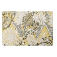 Alfombra de exterior amarilla con estampado de motivos vegetales 155x230 Amazonie