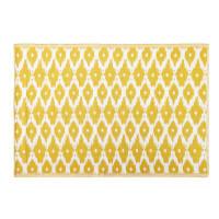 Alfombra de exterior amarilla con motivos decorativos blancos 140x200 Dhatu