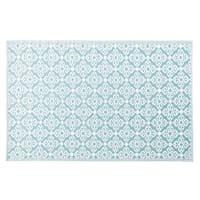 Alfombra de exterior azul con motivos decorativos blancos 140x200 Rosace