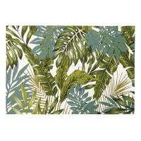 Alfombra de exterior blanca con estampado de follaje verde 140x200 Amazonie