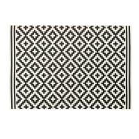 Alfombra de exterior blanca con motivos decorativos negros 160x230 Zaria