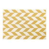 Alfombra de exterior con motivos decorativos amarillos y blancos 160x230 Malone