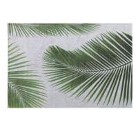 Alfombra de exterior gris con estampado de hojas de palmera 155x230 Leaf