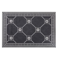 FIRENZE - Alfombra de vinilo negro y color crudo con motivos decorativos de azulejos de cemento 100x150