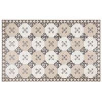 TOSCA - Alfombra polivinilo motivos gráficos gris topo, gris y blancos 50x80