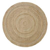 BRAGA - Alfombra redonda de yute trenzada beige D. 150