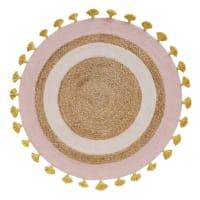 SAHARI - Alfombra redonda de yute trenzado y algodón con pompones D. 100