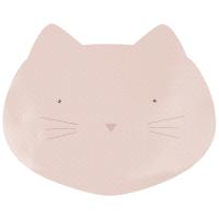 Alfombra rosa protectora para comedero con forma de cabeza de gato 43x32
