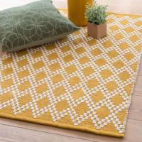 Almofada de algodão amarela com motivos gráficos 60x90 Gypsophile