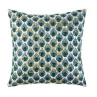 Almofada de algodão bege com motivos gráficos verdes e dourados 45x45 Borneo
