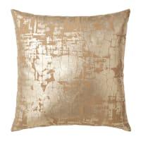 ANDRIA - Almofada de algodão castanha com estampado dourado 45x45