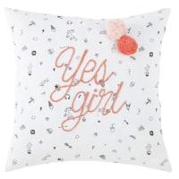 Almofada de algodão com motivos e pompons branca 40x40 Olivia