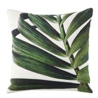 Almofada de algodão cor linho com folha verde 45x45 Palwan